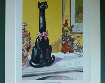 Original 1930s Children's Matted Print - Mice - Mouse - Black Cat Ornament - Shock - Surprise - Kitsch - Retro - Art - Vintage Picture