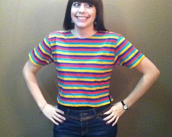 Women's Short Sleeved Orange / Teal / Purple / Yellow Horizontal Striped Crop Top Sport Tee Shirt