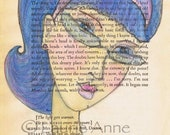Whimsical blue haired beauty with lavender accents , 5x7 blue wall art