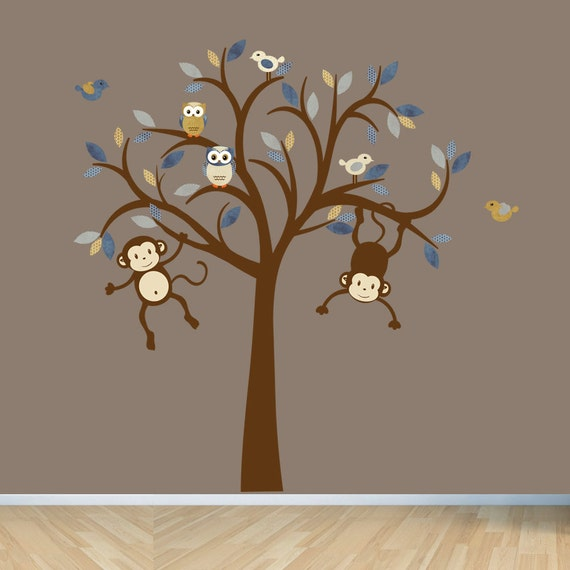 Monkey Wall Decals, Nursery Wall Decal, Boy Tree Wall Decal, Kids Room Wall