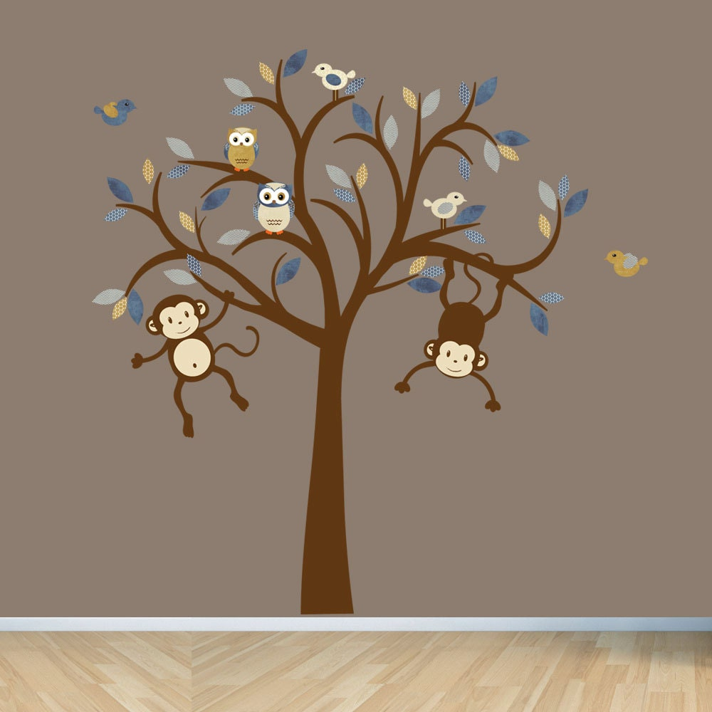 monkey wall decals nursery wall decal boy tree wall decal