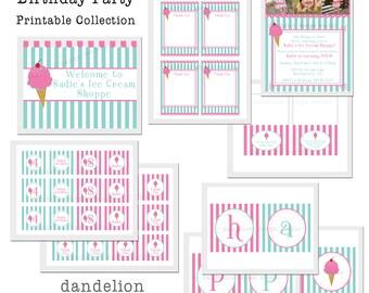 PRINTABLE Full Collection - Ice Cream Shoppe Party Collection - Dandelion Design Studio