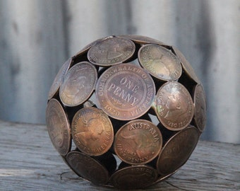 Mini mixed penny ball 2, Aged 8.5 cm Penny sphere, Metal sculpture ornament