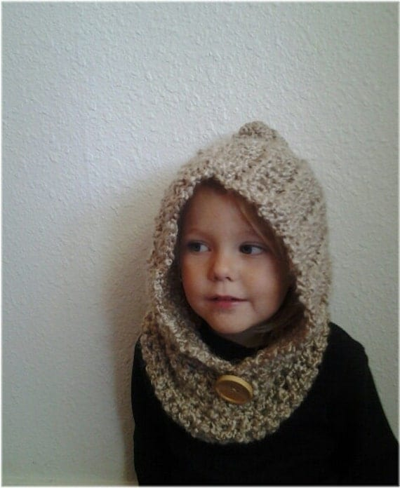 Free Knitting Pattern Hooded Neck Warmer : Items similar to Hooded Kids Cowl. Crochet Cowl. Crocheted ...