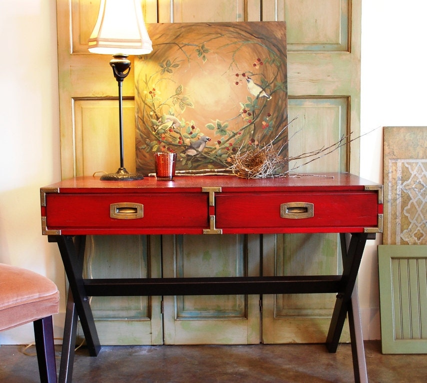Foyer Table Red : Vintage hand painted table campaign style sofa entry
