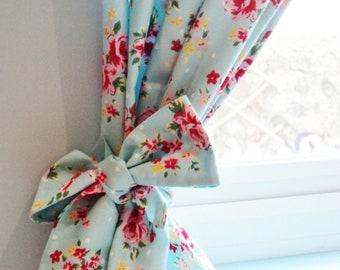 Bespoke Shabby Chic Polkadot Rose Floral Curtain Kitsch