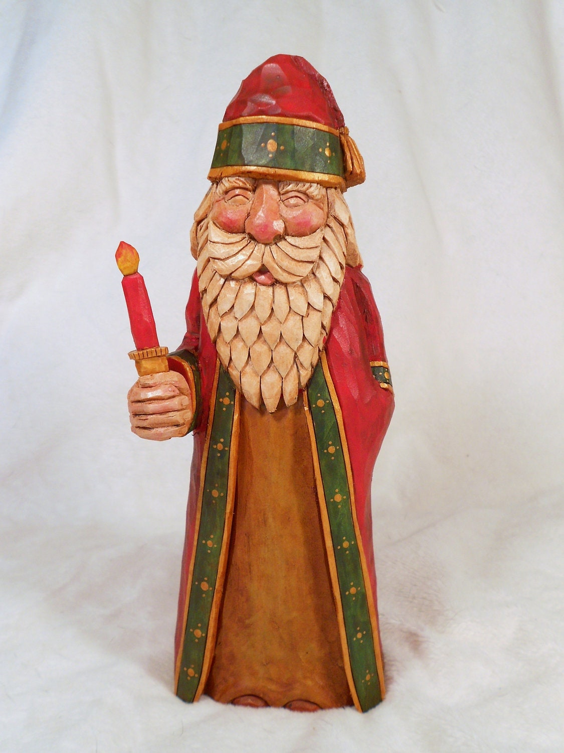 Hand carved santa christmas collectible
