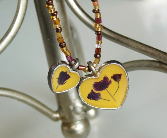 Yellow Heart Charms necklace & matching bracelets