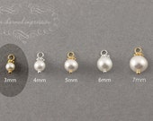 ADD A PEARL Charm . Silver or Gold . Genuine Freshwater Pearl Gemstones . June Birthstone . Add on Charm Necklace Charm Bracelet  3mm Pearls