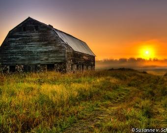 Wisconsin Barn Photo, Sunrise, Nature Photography, Fine Art Print, Foggy Morning, Orange Green, North Country, Farm, Cabin Home Decor