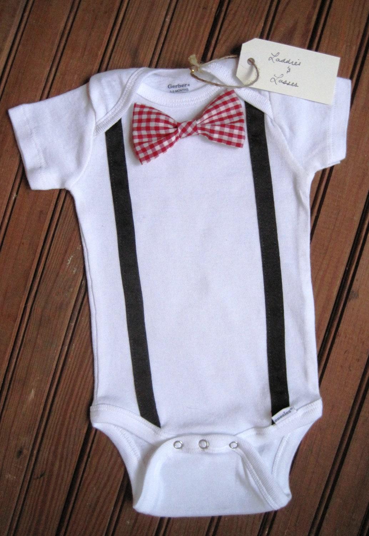 sleeve gingham bow tie onesie with suspenders