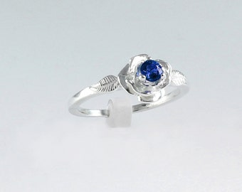 Genuine Sapphire Ring Sterling Silver /  Blue Sapphire Silver Ring September Birthstone FREE RE-SIZING