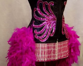 Size Small-Pin Up Carnival Moulin Burlesque Feather Showgirl Mardi Gras Costume