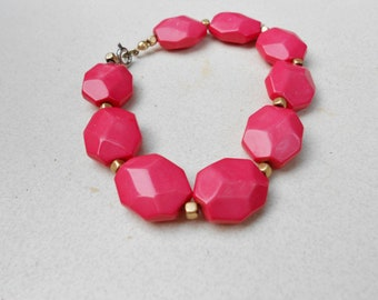 Pink Vintage Bracelet chunky acrylic beads and little gold beads 1970s jewelry