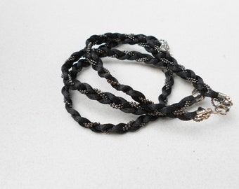 Vintage black Bracelets 1980s braided cloth and micro black glass beads Lot of 3