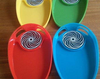 """Vintage""""Parti Palette"""" Snack Trays Set of 8 in Original Box 60s/70s Primary Colors"""