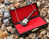 Dolls House black guitar necklace, christmas