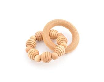 Natural Wooden Teether - Waldorf Grasping Toy - Montessori Inspired Organic Baby Toy - Keepsake Toys (J)