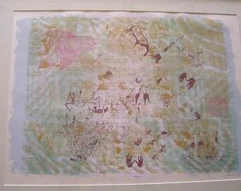 """Framed Silk Screen Titled """"Begin"""", Signed,  B. Bennett 1983"""