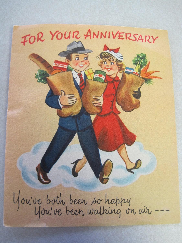 S unused vintage anniversary card pop up real bell