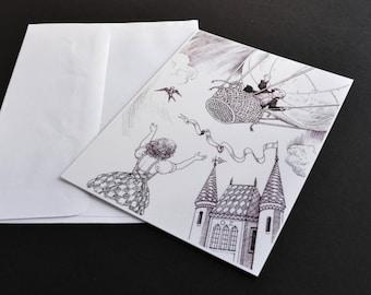 Postcard, Wizard of Oz illustration, Children's Literature, black and white illustration postcard