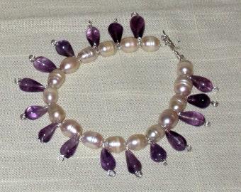 Pearl and Amethyst  Bracelet.