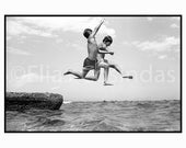 Photography black & white Jump for Joy sea photo children photography silver gelatin print - SilverGrain