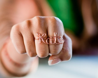 Customizable 2 Finger Name / Word Ring - Handmade. Tarnish Resistant. Hypoallergenic. Adjustable. In Gold, Silver, Copper / Rose Gold.
