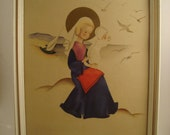 Mother and Child Vintage Image with Glass Frame