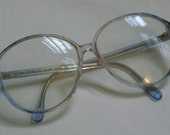 80s Vintage Translucent three Tone Clear Blue and Pink RX Glasses Austria Silhouette Round Frames Women's Eyewear