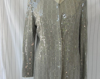 Vintage Mani 1980's Grey Sequined ladies Evening Jacket