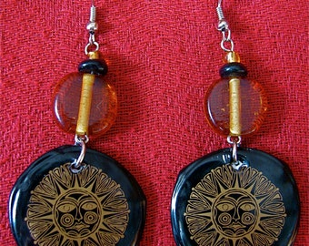 Recycled bottle cap Sun Black and Gold earrings