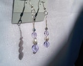 Contemporary Elegance Light Purple and Silver Czech Glass Crystal Dangle w/ Silver Bead