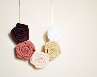 Fiber necklace/ floral/ cotton rosette/ fiber jewelry/ necklace handmade/ pendant/ golden chain