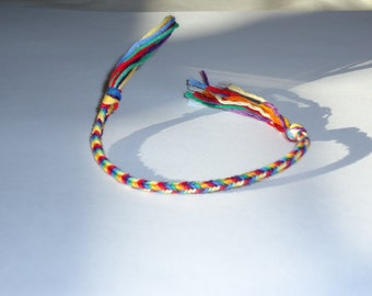 Rainbow pride finger weave bracelet FREE SHIPPING to USA