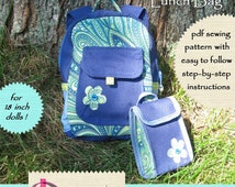 School Backpack pdf pattern for AG doll and bonus Lunch Bag pattern