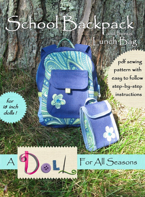 School Backpack pdf pattern for AG doll and bonus Lunch Bag pattern