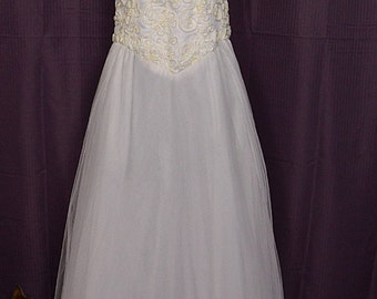 1980s White Cinderella Skirt w Halter-top Wedding Dress