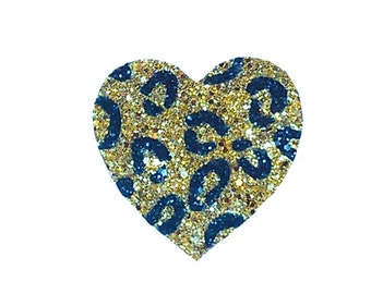 10% off with the code BDAY10  Rockabilly Leopard Print Glitter Heart Custom Colour Fascinator Hair Clip