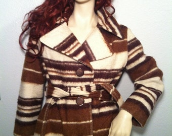Vintage Striped Wool Coat, Brown and White