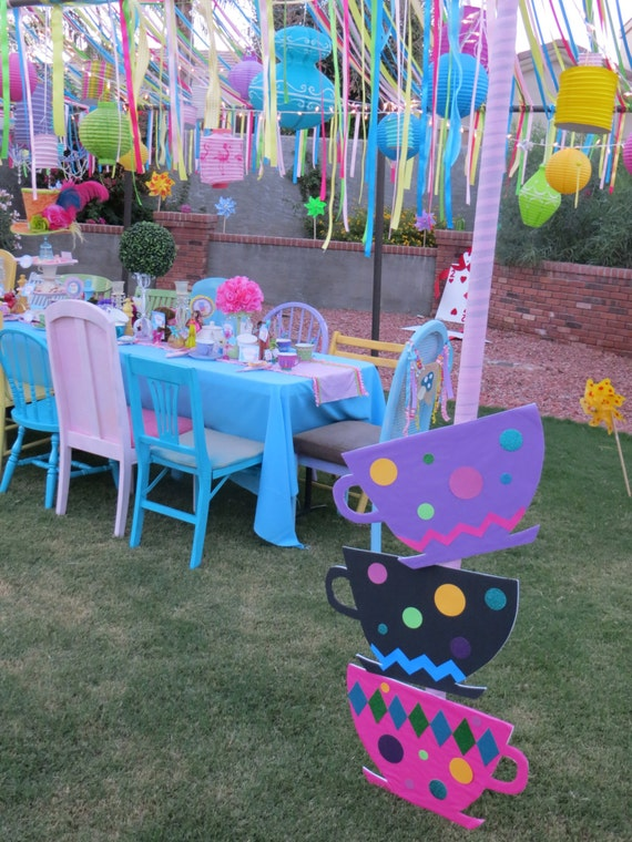 Items similar to alice and wonderland tea cups mad - Alice in wonderland outdoor decorations ...