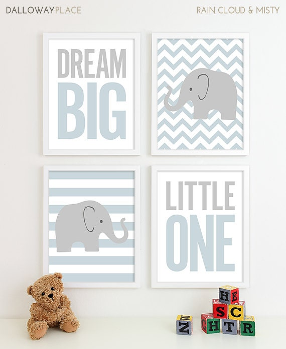 chevron elephant nursery decor kids wall art baby boy gift. Black Bedroom Furniture Sets. Home Design Ideas