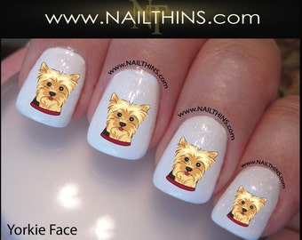 YORKIE Nail Decal Dog Yorkie Face Design Set #2 Yorkshire Terrier Nail Art NAILTHINS