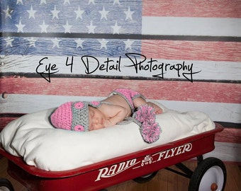 Newborn Baby Girl Outfit -  Baby Girl Hat and Diaper Cover -Newborn Baby Girl Photography Aviator Prop