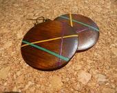 Fun Hand Painted Wood Earrings, Pendant Dangle Earrings, Orange Turquoise Magenta Fall Wooden Earrings