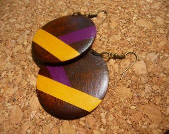 Hand Painted Wood Earrings Pendant Dangle Earrings, Fun Yellow Magenta Purple Spring Earrings