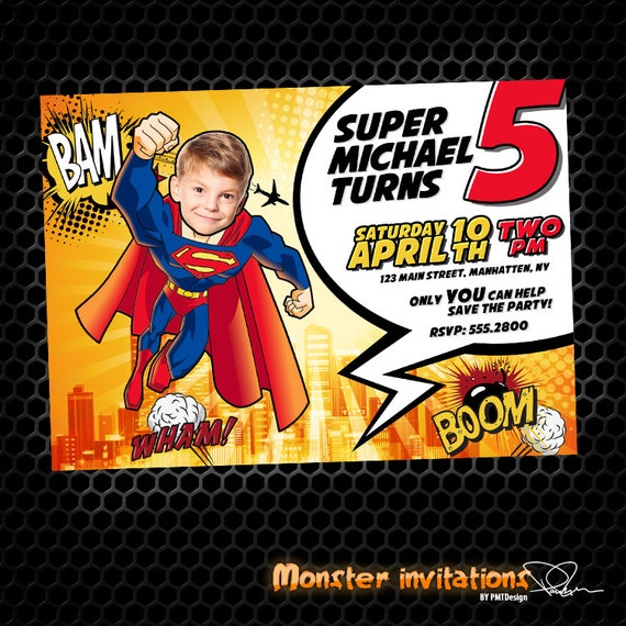 Justice League Invitations Free: SuperMan Printable Birthday Invitation By MonsterInvitations