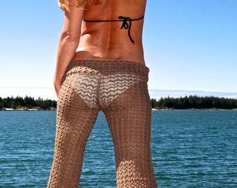 SEXY CHEVRON  (zig zag) sweater knit lace beach festival burning man gypsy hippie bell bottom pants