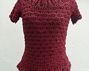 silk crochet top made to order in any size with any modifications