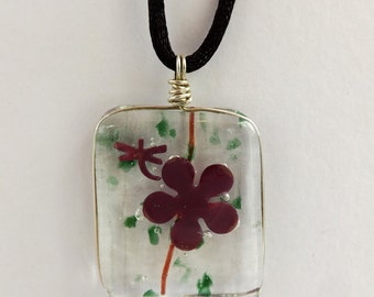 Fused Glass Necklace, Fused Glass Jewelry, Fused Glass, Copper Flower Jewelry, Fused Glass Dragon Fly, Fused Glass Copper Inclusions